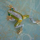 TREE FROG PIN/BROOCH, Green Frog, Swarvoski Crystal Pin