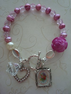 Pearl and Crystal Bracelet, Her Majestys Altered Art with Paris Soap Label Bracelet
