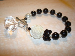 Black Pearl Bracelet...with DIAMOND DROP Bead