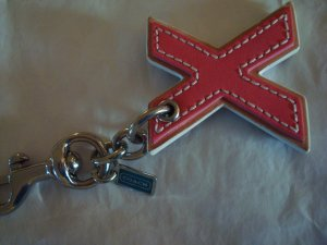 """COACH Keychain, NEW, Collectible, """"X"""" Letter Keychain/Purse Charm"""
