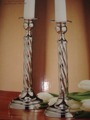 Candle Holders Home Decor Silver Tone Swirl Crystalite Candlesticks New