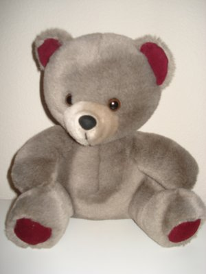 Stuffed Bear Gray And Burgundy New