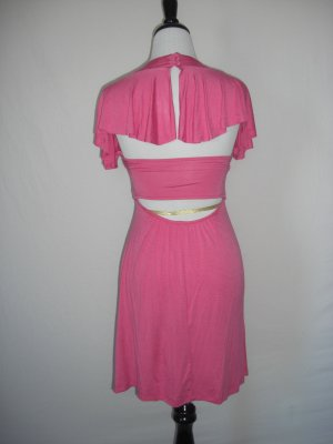 New Sexy Open backless Capelet Deep Vneck Jersey Dress Small