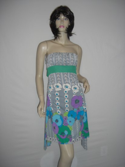 New Asymm Scenic Floral Spring Boho scarf Tube Dress L Large