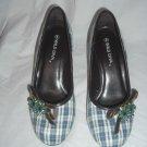"NIB Retro Rockabilly Style 3"" Plaid Jeweled Round Toe Heels Size 8"