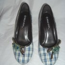 "NIB Retro Rockabilly Style 3"" Plaid Jeweled Round Toe Heels Size 5"