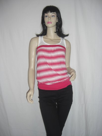 NWT Charlotte Russe Striped Emo Punk 2Fer Slit back Tube Top M Medium