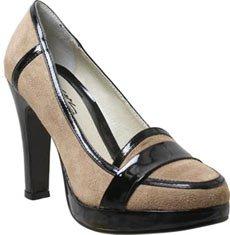 NIB Designer Style Suede & Patent Stacked Heel Loafer 6