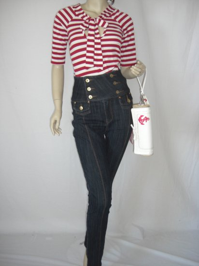NWT SEXY Stretch Sailor Rockabilly High Waist Corset Skinny Jean XS 0