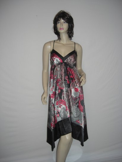 New Satin Boho Chic Asymm Paisly Scarf Maxi Dress M Medium