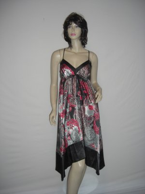 New Satin Boho Chic Asymm Paisly Scarf Maxi Dress M Medium
