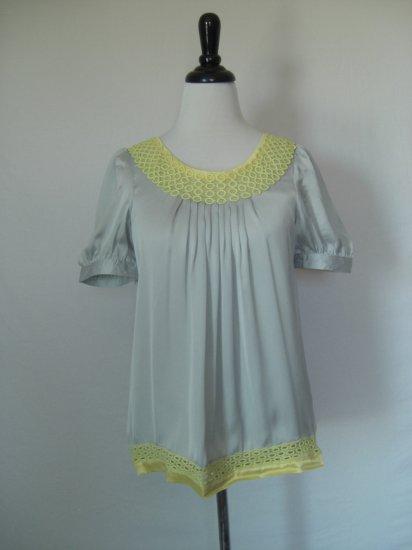 NWT NWT Silver Gray 100% Silk Tunic Top with Crochet trim L