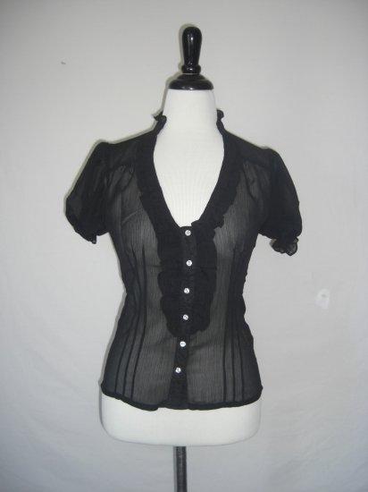 NWT Sheer Ruffle Pintuck Pleat Voile Dress Shirt Top L