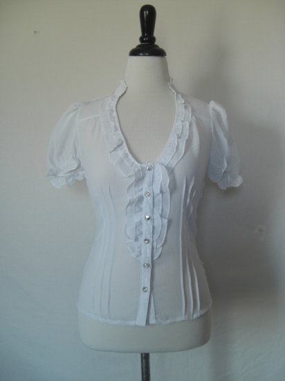 NWT Sheer Ruffle Pintuck Pleat Voile Dress Shirt Top S