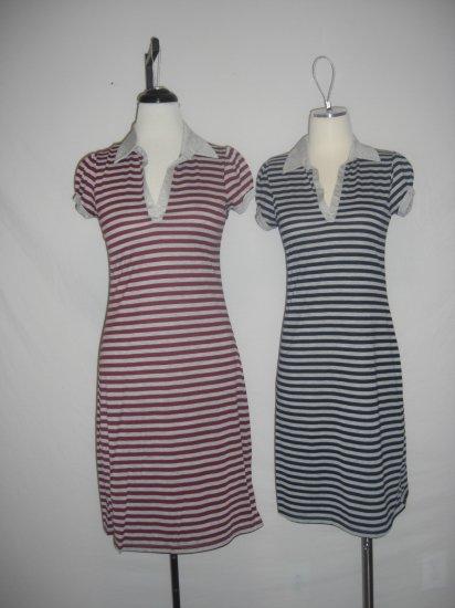 Lot of 2 NEW Sporty Prep Striped Polo S/S Dress sz L