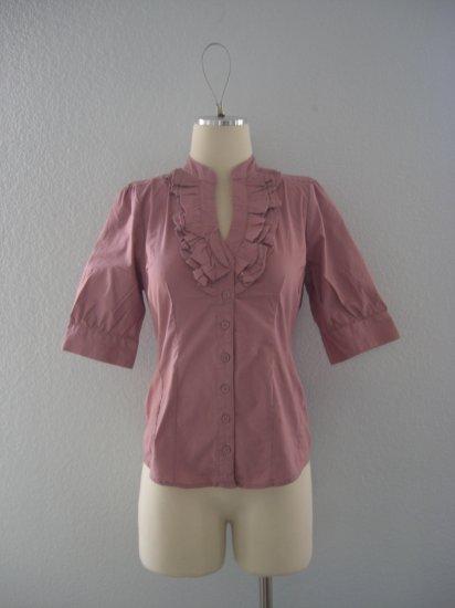 NWT Deep V ruffle Tuxedo Button Dress Shirt Top M