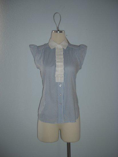 NWT Forever 21 Pinstripe Ruffle Button Dress Shirt Top M