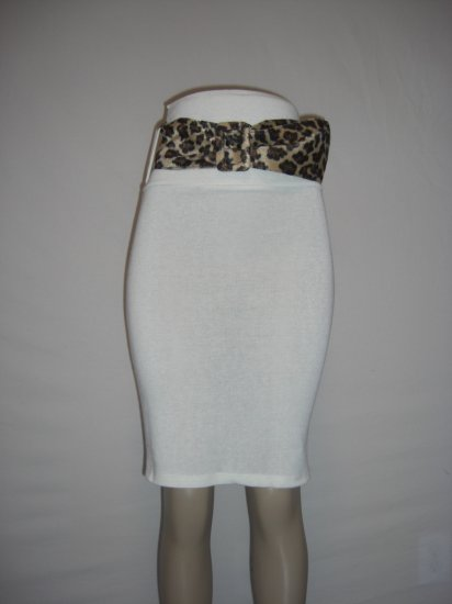 New vlv Sexy Rockabilly Leopard Belted Pencil Skirt L
