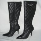 NIB Designer Quilted & Patent High Blk Stilletto Boot 7