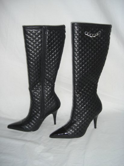 NIB Designer Quilted & Patent High Blk Stilletto Boot 7.5