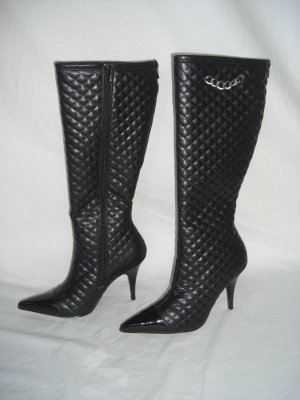 NIB Designer Quilted & Patent High Blk Stilletto Boot 5.5