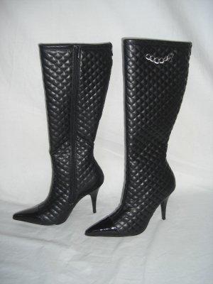 NIB Designer Quilted & Patent High Blk Stilletto Boot 9