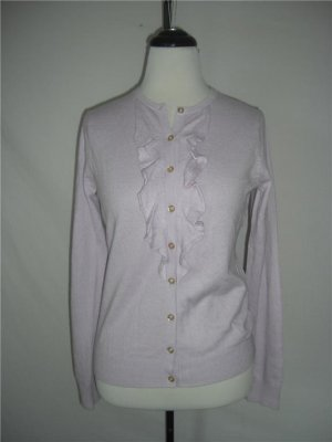 New Silk Wool Cashmere Ruffle Cardigan Sweater Top XL