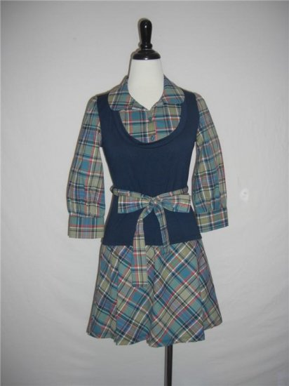 New Plaid 2fer sweater vest career belted Dress Size M Medium