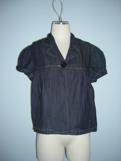 NWT Denim Babydoll Trapeze Fly Away Jacket top L Large