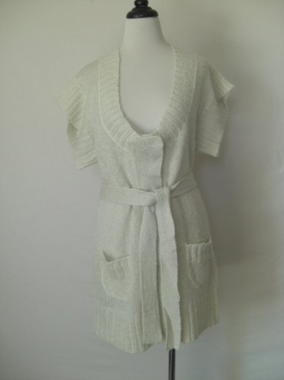 New Ivory 80s oversized Chunky Knit Sweater dress S Small