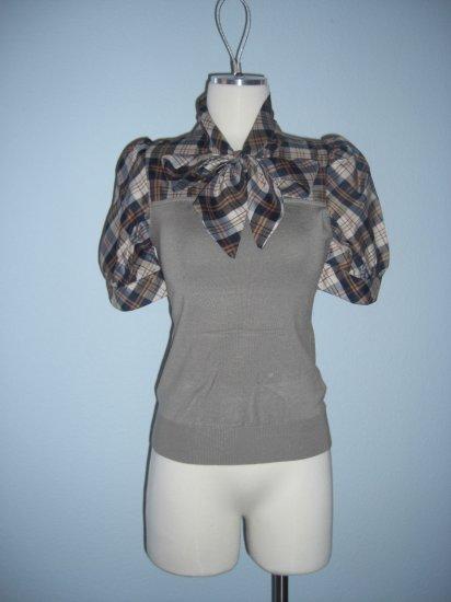 New 2fer Plaid Neck tie Career Sweater Top M Medium