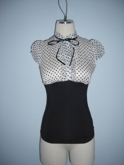 NWT Ruffle Chiffon Victorian Vintage style White Top S Small
