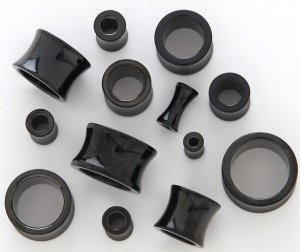 BLACK TITANIUM ANODIZED 316L SURGICAL STEEL HOLLOW SADDLE TUNNELS