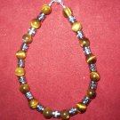 Round Tiger's Eye and Silver Tube Men's Bracelet.