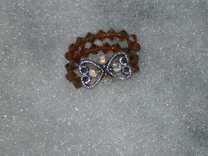 Swarovski Crystal Smoked Topaz Double Strand Slider Stretch Ring