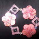 Pink Hibiscus Stretch Beaded Bracelet with Swarovski Crystal