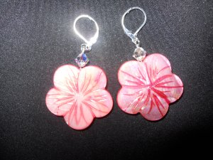 Pink Shell Hibiscus Flower Shell Earrings with Swarovski Crystal