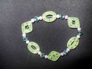 Green and PurpleResin and Swarovski Crystal Stretch Bracelet