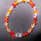 Fire Opal, Sun and Peach Swarovski Crystal Hamsa Stretch Bracelet