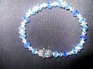 Blue toned Swarovski Crystal Hamsa Stretch Bracelet