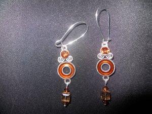 Brown Drop Earrings with Swarovski Crystals
