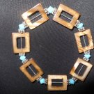 Turquois and Brown Shell and Swarovski Crystal Stretch Bracelet
