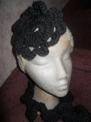 White Crochet Headband with Grey Flower