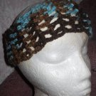 Brown and Turquois Crochet Ear Warmer