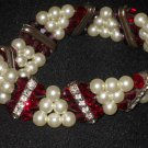 Swarovski Crystal Beaded and Pearl Triple Strand Bracelet