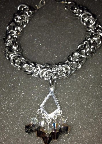 Chainmaille and Swarovski Crystal Dangle Bracelet