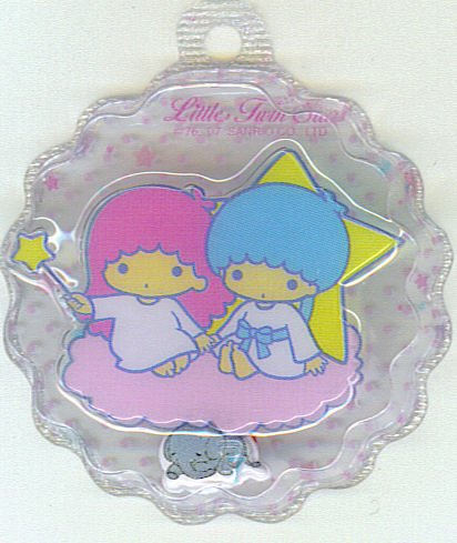 SANRIO LITTLE TWIN STARS 2 IN 1 CLEAR TRANSPARENT  ROUND WAVE SHAPE #7