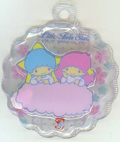 SANRIO LITTLE TWIN STARS 2 IN 1 CLEAR TRANSPARENT  ROUND WAVE SHAPE #4