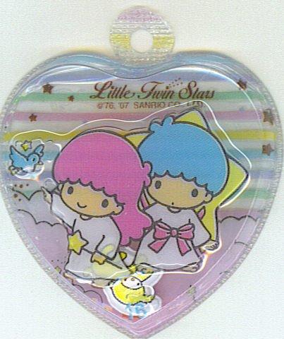 SANRIO LITTLE TWIN STARS 2 IN 1 RAINBOW STRIPES CLEAR HEART SHAPE #16