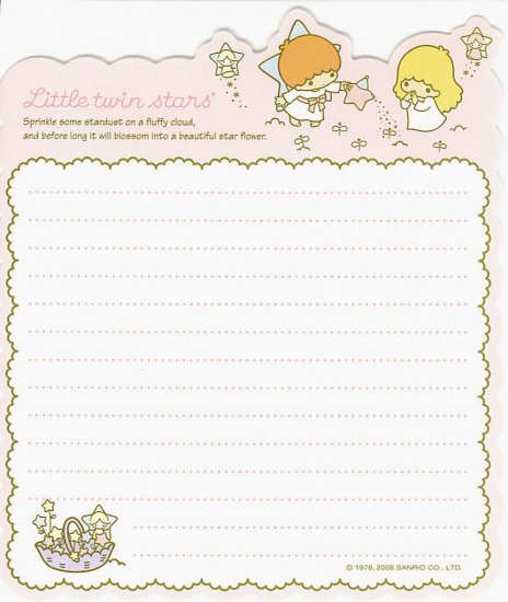 SANRIO LITTLE TWIN STARS LOOSE LETTER SET NEW STYLE DIE CUT GARDENING